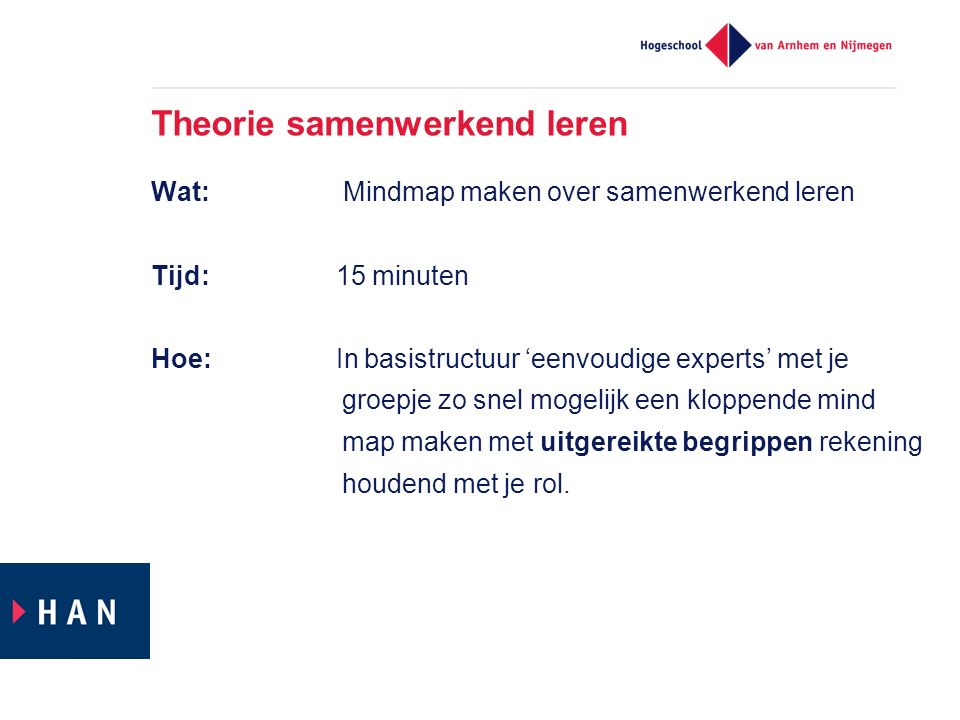Theorie samenwerkend leren Wat: Mindmap maken over samenwerkend leren Tijd: 15 minuten Hoe: In basistructuur 'eenvoudige experts' met je groepje zo sn