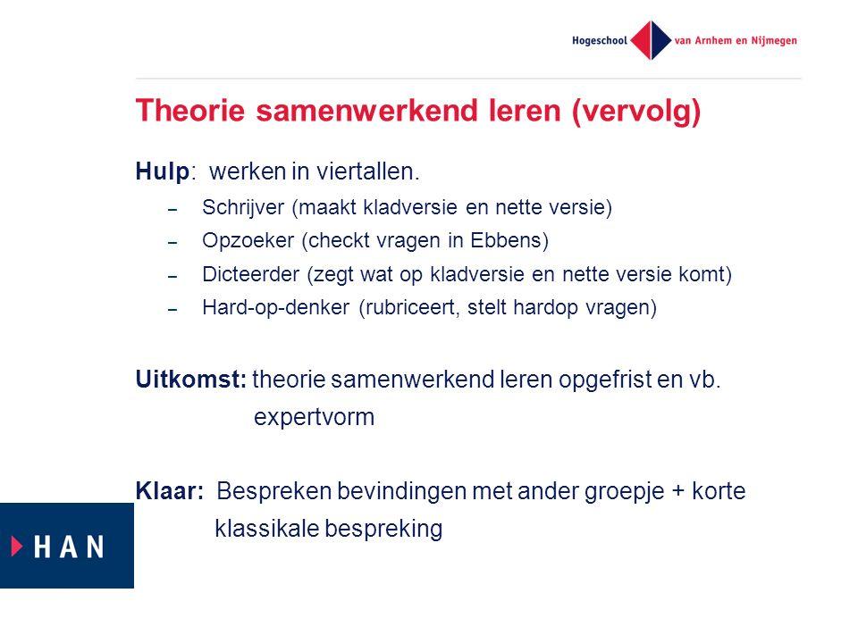 Theorie samenwerkend leren (vervolg) Hulp: werken in viertallen. – Schrijver (maakt kladversie en nette versie) – Opzoeker (checkt vragen in Ebbens) –