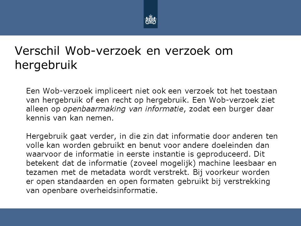 Verschil Wob-verzoek en verzoek om hergebruik Een Wob-verzoek impliceert niet ook een verzoek tot het toestaan van hergebruik of een recht op hergebru