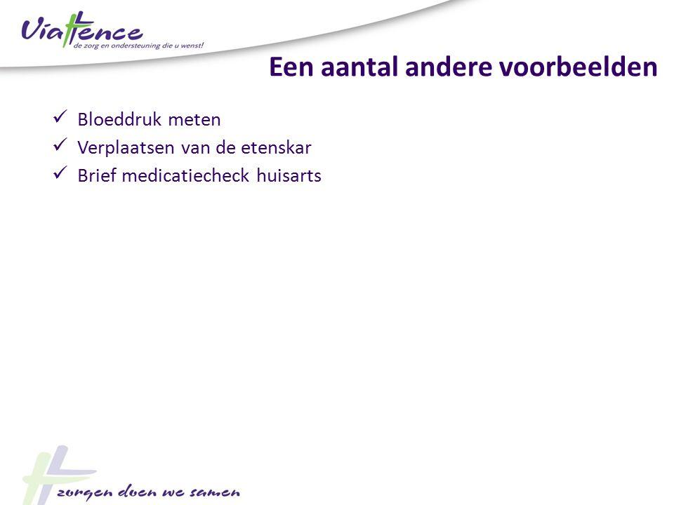 Een aantal andere voorbeelden Bloeddruk meten Verplaatsen van de etenskar Brief medicatiecheck huisarts