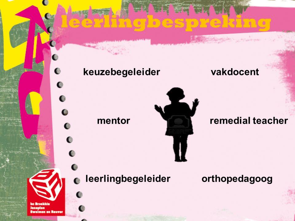 leerlingbespreking keuzebegeleider mentor leerlingbegeleiderorthopedagoog remedial teacher vakdocent