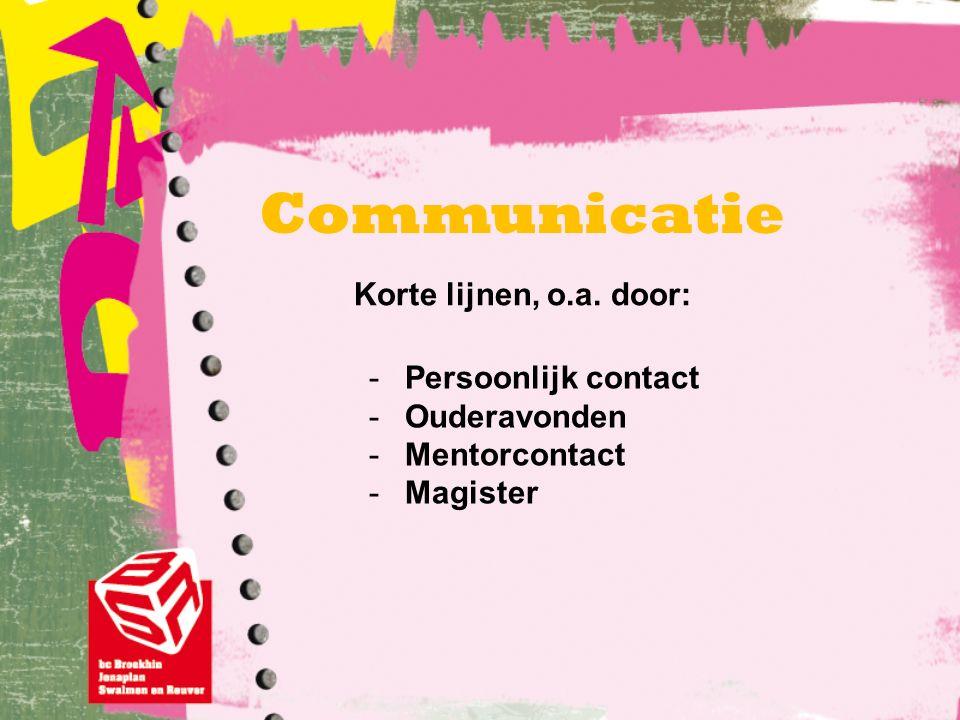 Communicatie -Persoonlijk contact -Ouderavonden -Mentorcontact -Magister Korte lijnen, o.a. door: