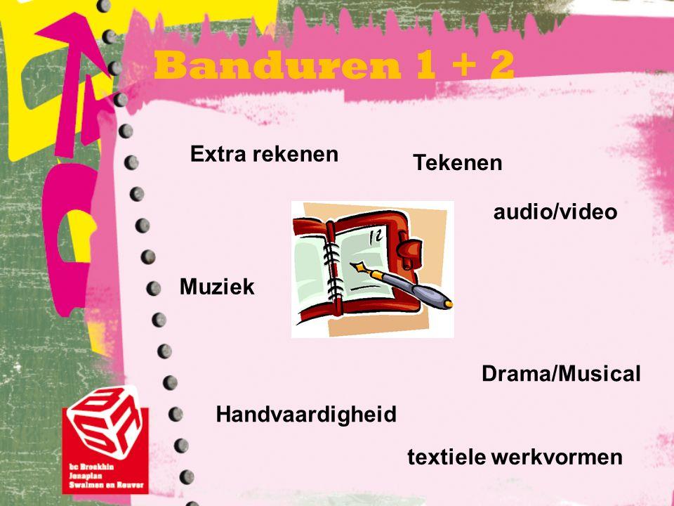 Banduren 1 + 2 Extra rekenen audio/video Drama/Musical textiele werkvormen Handvaardigheid Tekenen Muziek