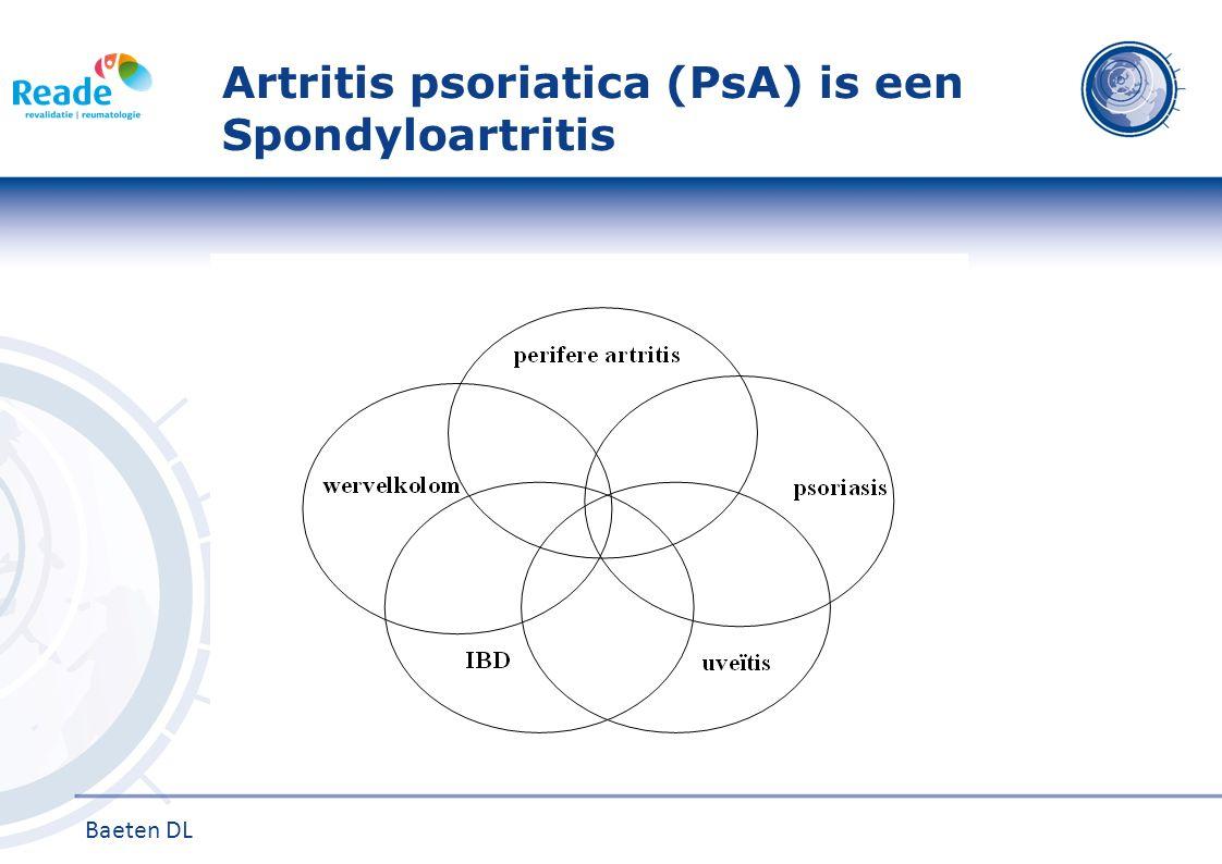 Artritis psoriatica (PsA) Prevalentie Psoriasis 2-3% westerse bevolking PsA bij 10-30% patiënten met psoriasis 1-4 Ratio man:vrouw = 1:1 Psoriasis vaak al jaren voor start MSK inflammatie Oorzaak PsA multifactorieel Genetica Immunologie Externe factoren Presentatie en beloop PsA zeer heterogeen 1.