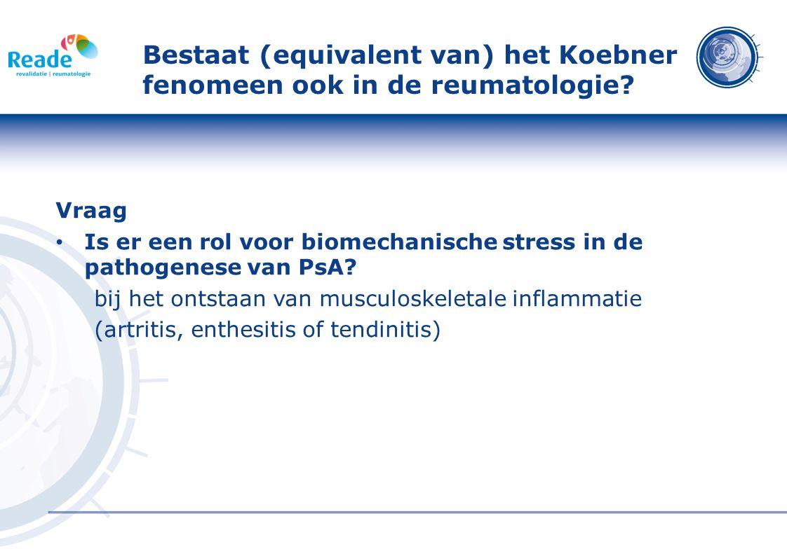 Entheseal abnormalities on MRI are a consistent feature of new-onset synovitis in SpA Studie opzet MRI studie 20 patiënten met 'recent-onset knee effusion' (10 SpA en 10 RA) SpA volgens ESSG criteria, ReA (n=4) AS (n=3) en PsA (n=3) MRI scans onafhankelijk gescoord door 2 'blinded observers' Doel: bepalen of primaire locatie van inflammatie verschilt tussen RA en SpA.