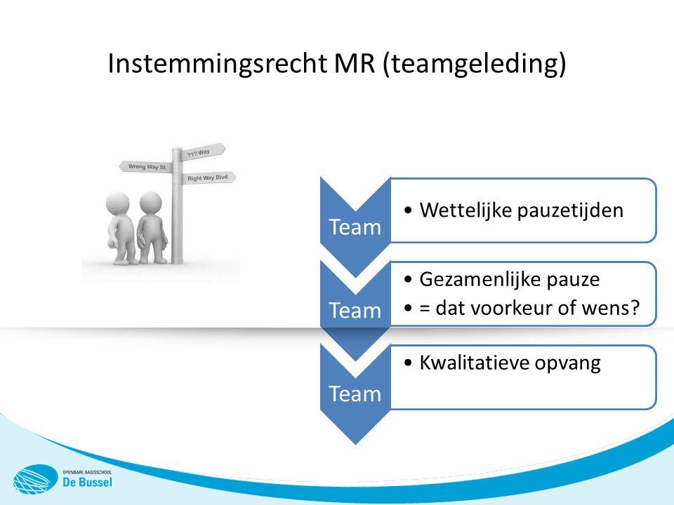 Team Wettelijke pauzetijden Team Gezamenlijke pauze = dat voorkeur of wens.
