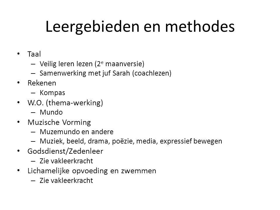 Leergebieden en methodes Taal – Veilig leren lezen (2 e maanversie) – Samenwerking met juf Sarah (coachlezen) Rekenen – Kompas W.O. (thema-werking) –