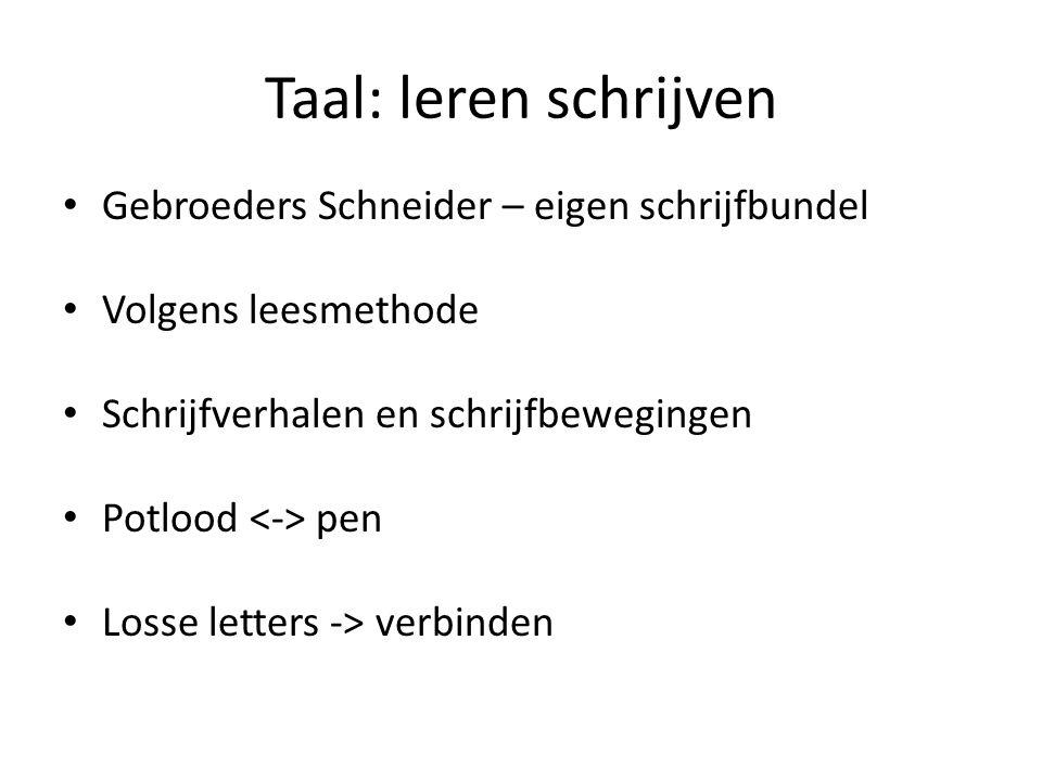 Taal: leren schrijven Gebroeders Schneider – eigen schrijfbundel Volgens leesmethode Schrijfverhalen en schrijfbewegingen Potlood pen Losse letters ->