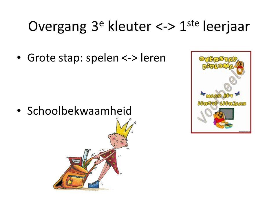 Overgang 3 e kleuter 1 ste leerjaar Grote stap: spelen leren Schoolbekwaamheid