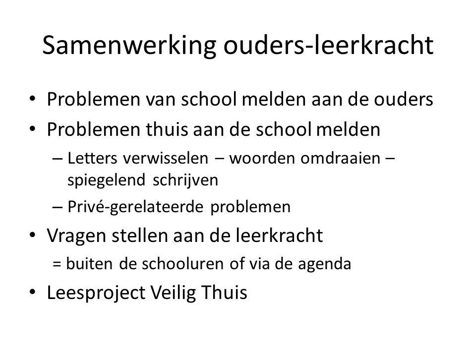 Samenwerking ouders-leerkracht Problemen van school melden aan de ouders Problemen thuis aan de school melden – Letters verwisselen – woorden omdraaie