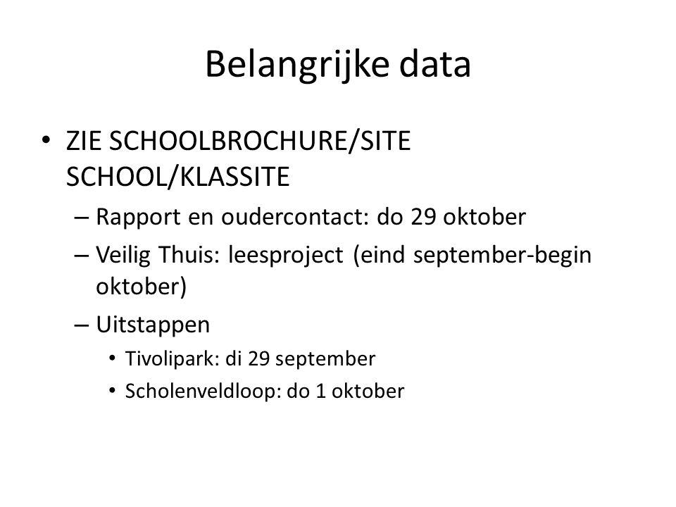Belangrijke data ZIE SCHOOLBROCHURE/SITE SCHOOL/KLASSITE – Rapport en oudercontact: do 29 oktober – Veilig Thuis: leesproject (eind september-begin ok
