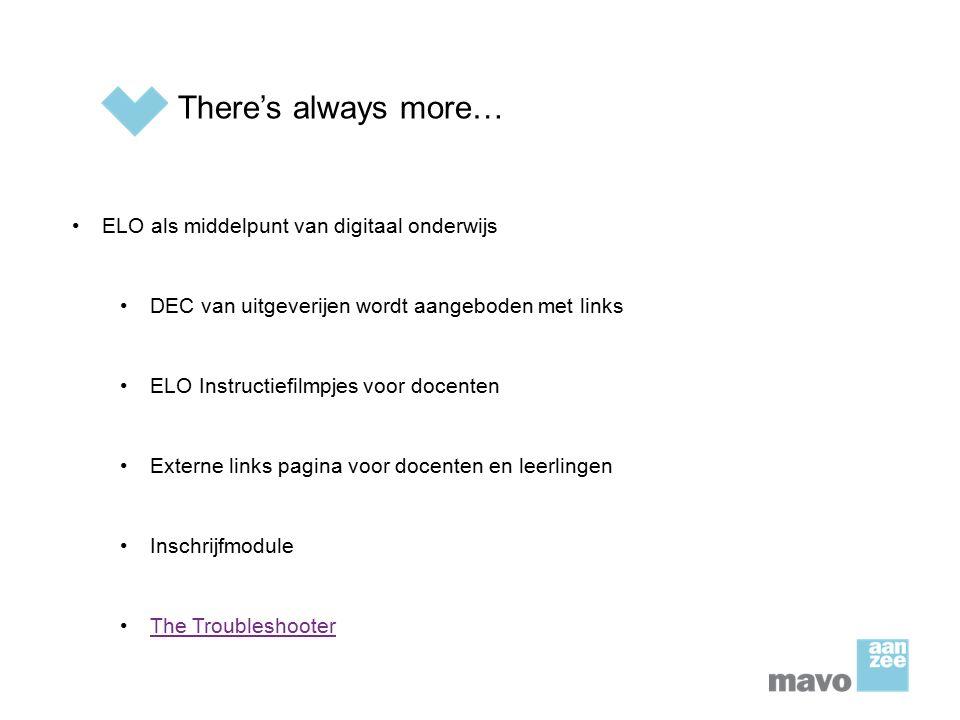 There's always more… ELO als middelpunt van digitaal onderwijs DEC van uitgeverijen wordt aangeboden met links ELO Instructiefilmpjes voor docenten Ex