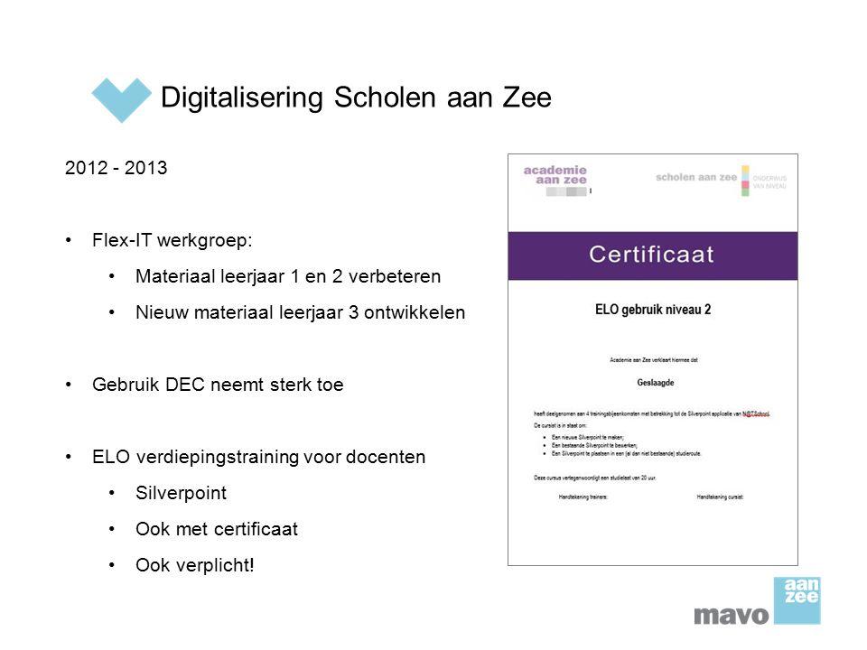 Digitalisering Scholen aan Zee 2012 - 2013 Flex-IT werkgroep: Materiaal leerjaar 1 en 2 verbeteren Nieuw materiaal leerjaar 3 ontwikkelen Gebruik DEC