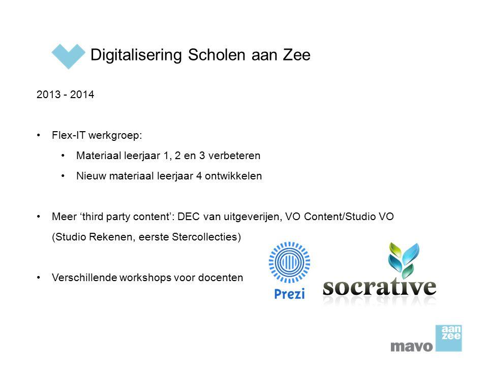 Digitalisering Scholen aan Zee 2013 - 2014 Flex-IT werkgroep: Materiaal leerjaar 1, 2 en 3 verbeteren Nieuw materiaal leerjaar 4 ontwikkelen Meer 'thi