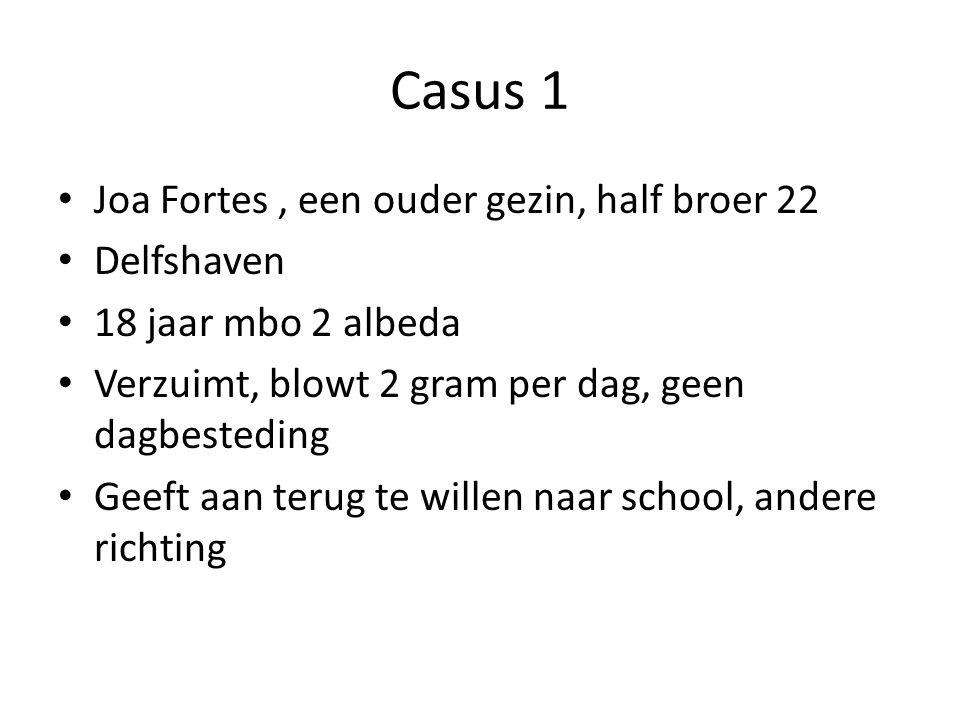 Casus 1 Joa Fortes, een ouder gezin, half broer 22 Delfshaven 18 jaar mbo 2 albeda Verzuimt, blowt 2 gram per dag, geen dagbesteding Geeft aan terug te willen naar school, andere richting