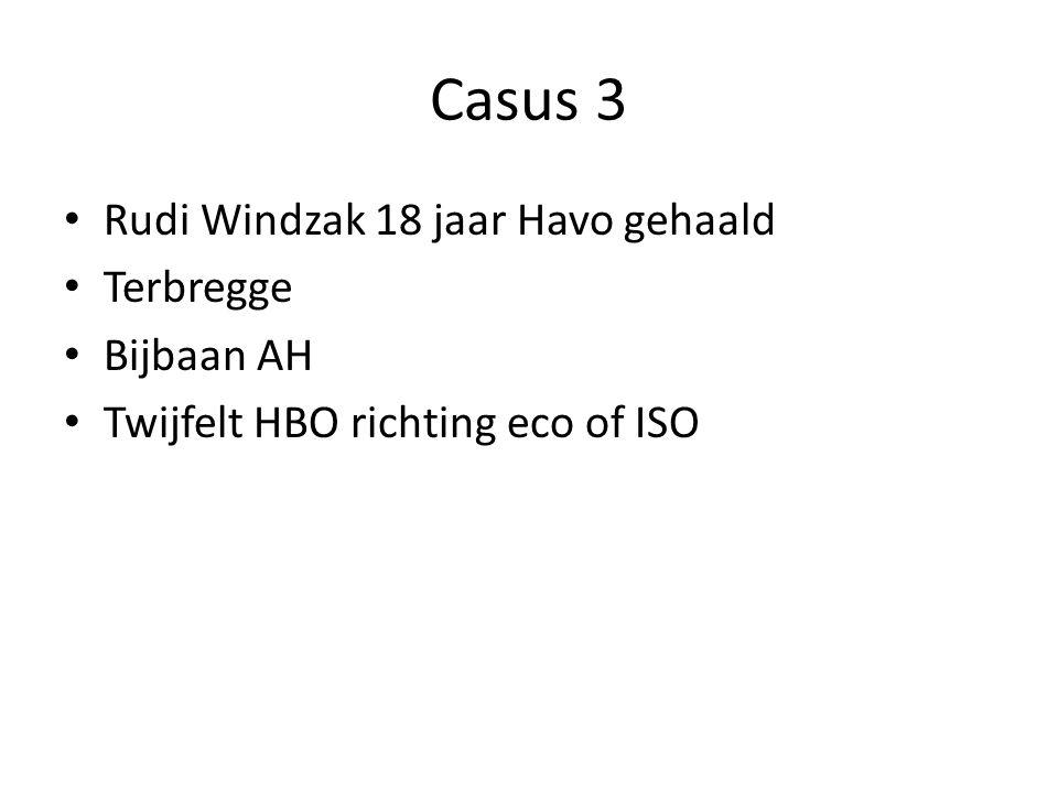 Casus 3 Rudi Windzak 18 jaar Havo gehaald Terbregge Bijbaan AH Twijfelt HBO richting eco of ISO