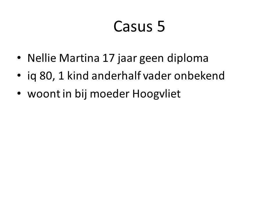 Casus 5 Nellie Martina 17 jaar geen diploma iq 80, 1 kind anderhalf vader onbekend woont in bij moeder Hoogvliet