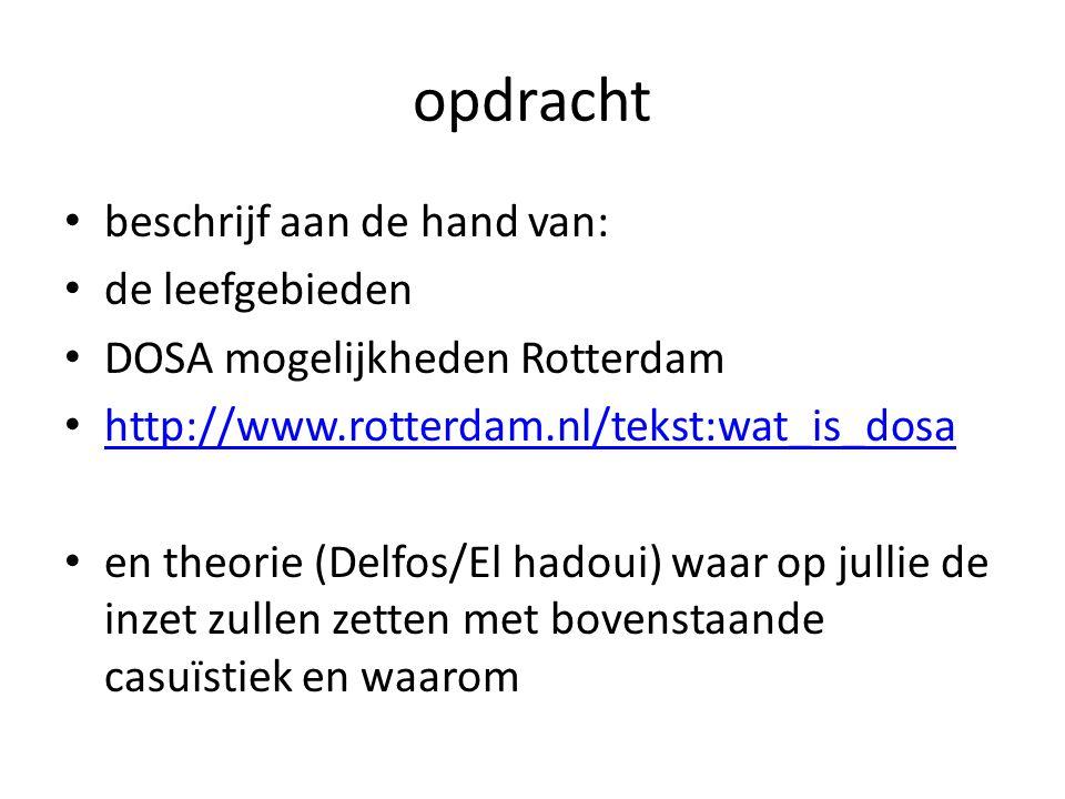 opdracht beschrijf aan de hand van: de leefgebieden DOSA mogelijkheden Rotterdam http://www.rotterdam.nl/tekst:wat_is_dosa en theorie (Delfos/El hadoui) waar op jullie de inzet zullen zetten met bovenstaande casuïstiek en waarom