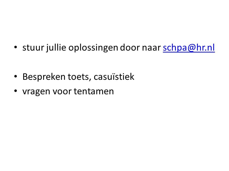 stuur jullie oplossingen door naar schpa@hr.nlschpa@hr.nl Bespreken toets, casuïstiek vragen voor tentamen