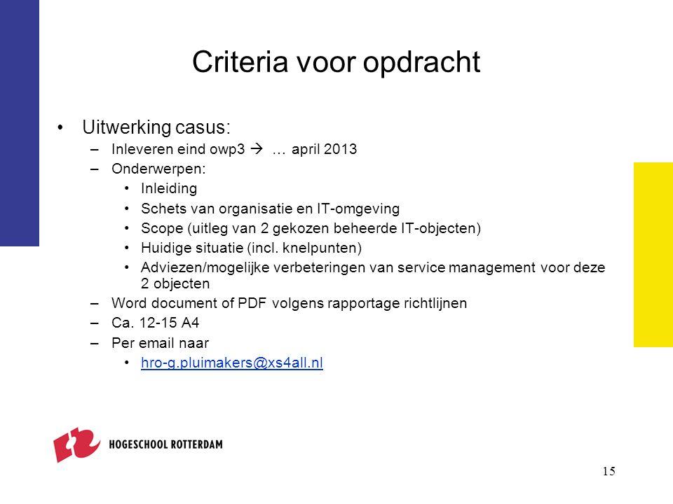 15 Criteria voor opdracht Uitwerking casus: –Inleveren eind owp3  … april 2013 –Onderwerpen: Inleiding Schets van organisatie en IT-omgeving Scope (uitleg van 2 gekozen beheerde IT-objecten) Huidige situatie (incl.