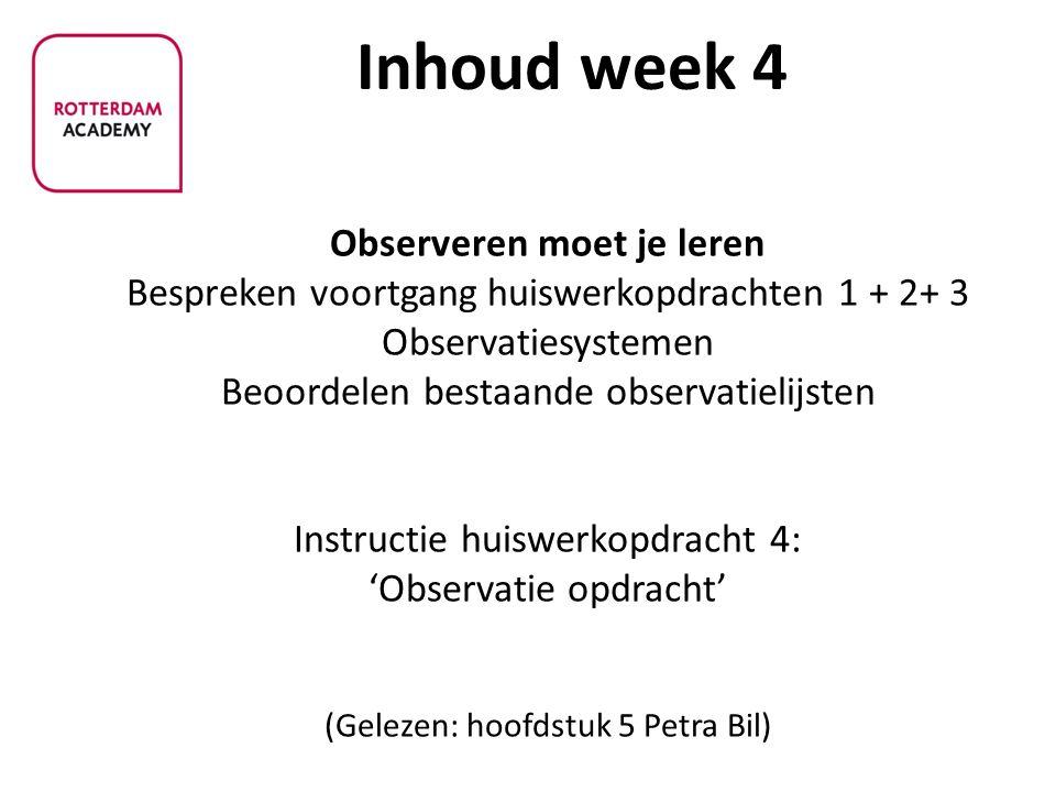 - Observeren moet je leren Bespreken voortgang huiswerkopdrachten 1 + 2+ 3 Observatiesystemen Beoordelen bestaande observatielijsten Instructie huiswe