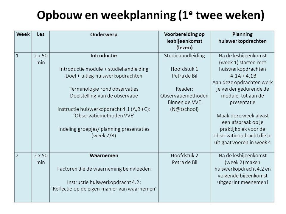 Opbouw en weekplanning (1 e twee weken) WeekLes Onderwerp Voorbereiding op lesbijeenkomst (lezen) Planning huiswerkopdrachten 12 x 50 min Introductie