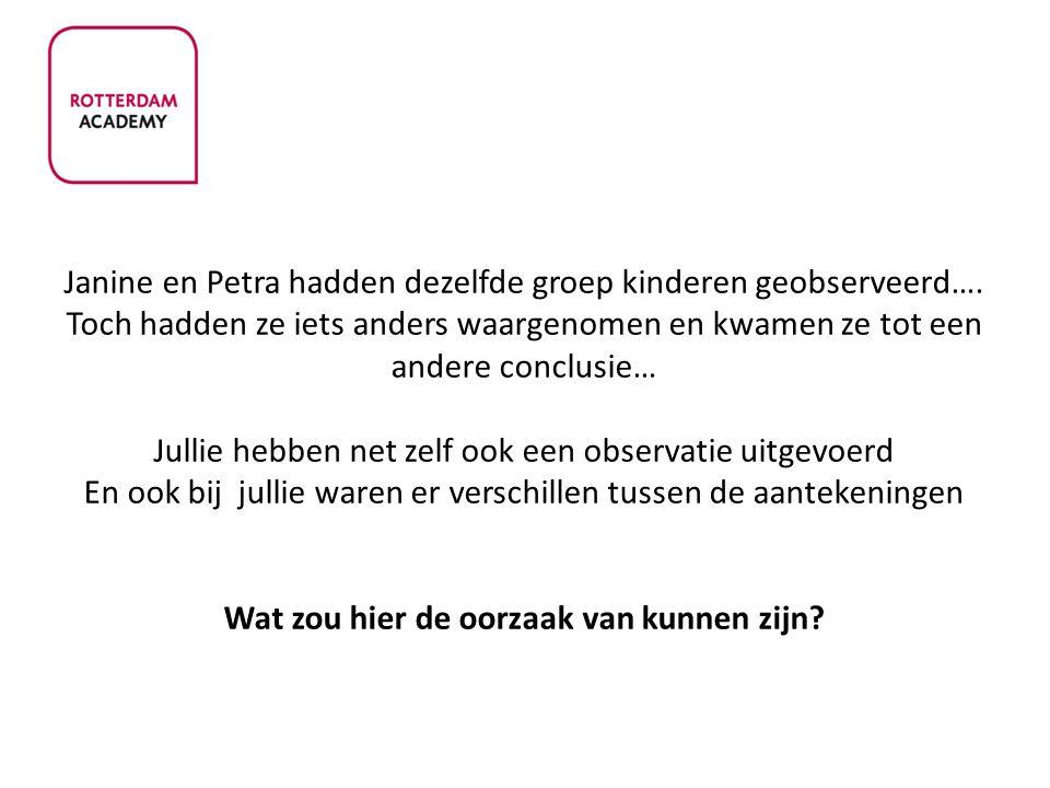 Janine en Petra hadden dezelfde groep kinderen geobserveerd…. Toch hadden ze iets anders waargenomen en kwamen ze tot een andere conclusie… Jullie heb