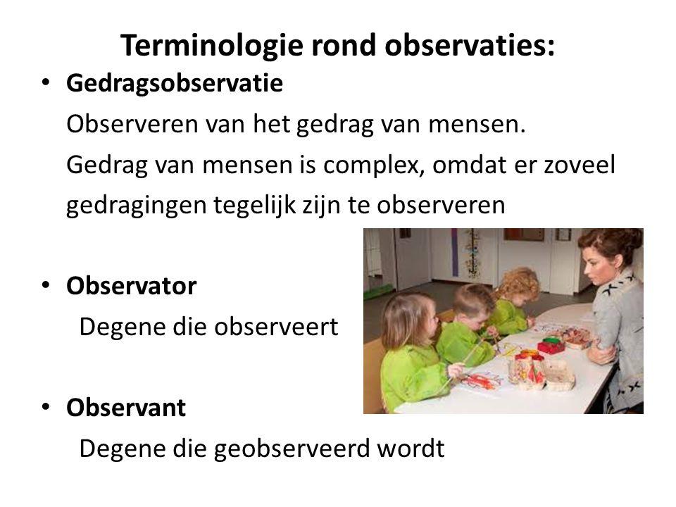 Terminologie rond observaties: Gedragsobservatie Observeren van het gedrag van mensen. Gedrag van mensen is complex, omdat er zoveel gedragingen tegel