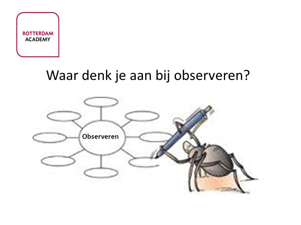 Terminologie rond observaties: Gedragsobservatie Observeren van het gedrag van mensen.