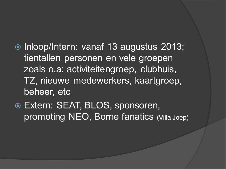  Inloop/Intern: vanaf 13 augustus 2013; tientallen personen en vele groepen zoals o.a: activiteitengroep, clubhuis, TZ, nieuwe medewerkers, kaartgroep, beheer, etc  Extern: SEAT, BLOS, sponsoren, promoting NEO, Borne fanatics (Villa Joep)