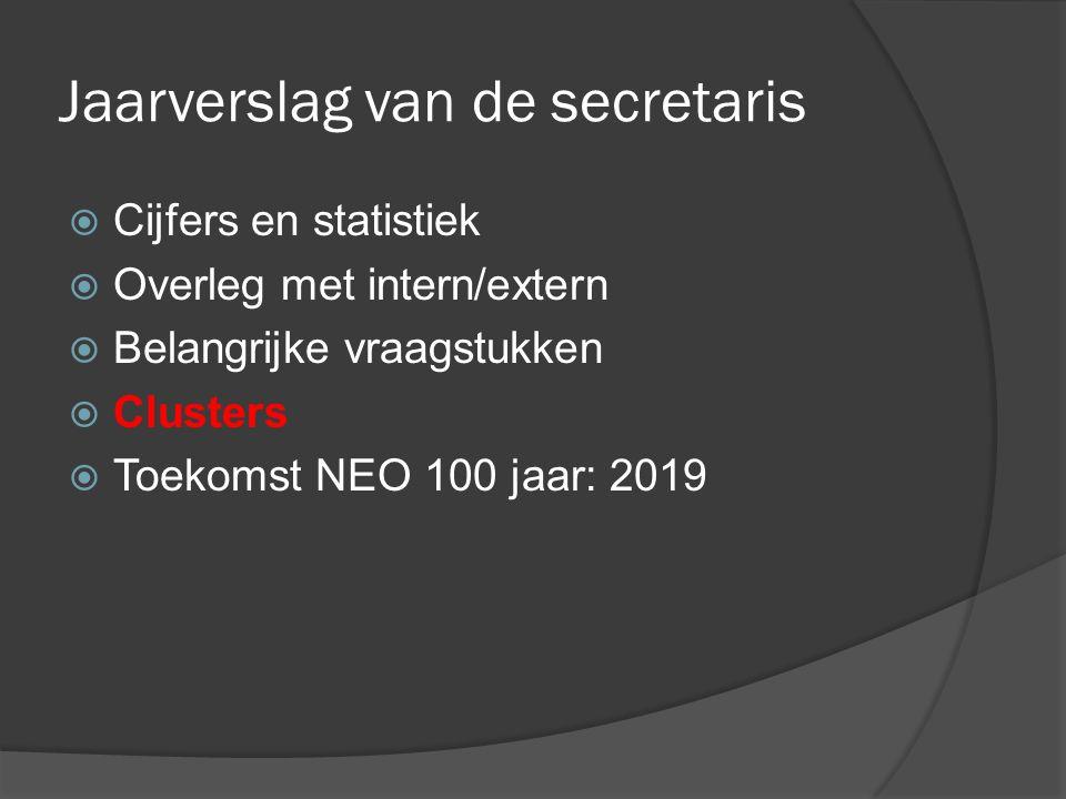 Jaarverslag van de secretaris  Cijfers en statistiek  Overleg met intern/extern  Belangrijke vraagstukken  Clusters  Toekomst NEO 100 jaar: 2019