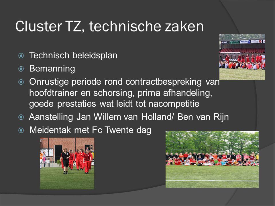 Cluster TZ, technische zaken  Technisch beleidsplan  Bemanning  Onrustige periode rond contractbespreking van hoofdtrainer en schorsing, prima afha