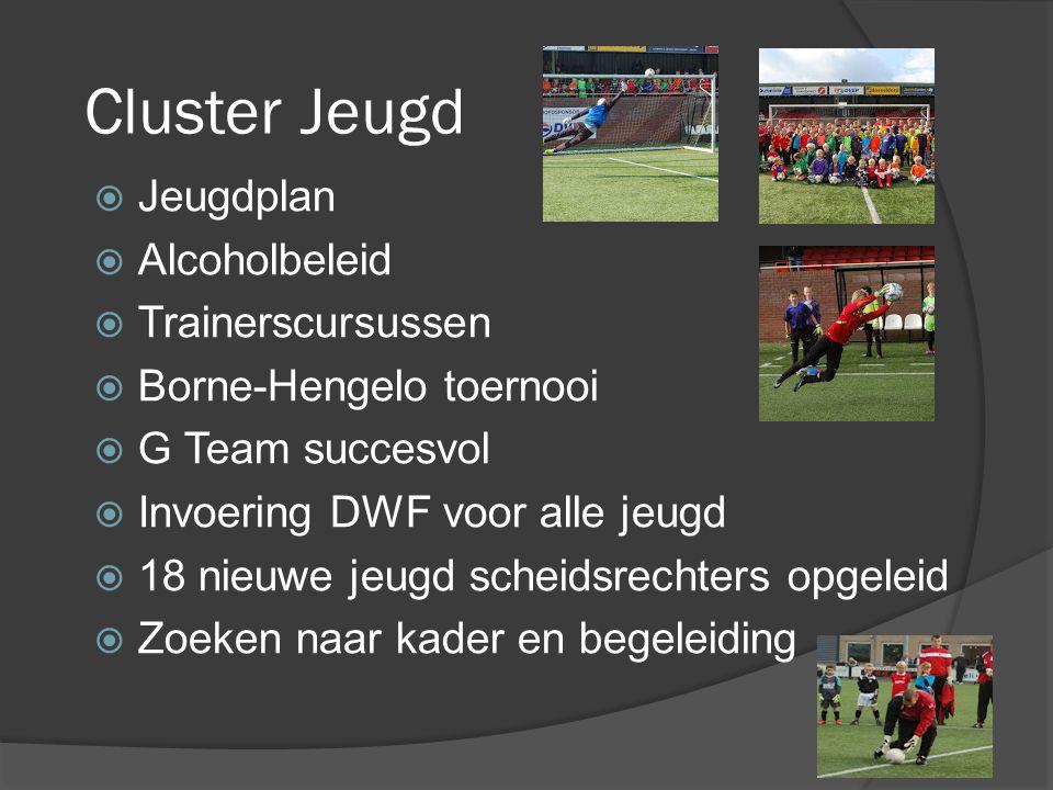 Cluster Jeugd  Jeugdplan  Alcoholbeleid  Trainerscursussen  Borne-Hengelo toernooi  G Team succesvol  Invoering DWF voor alle jeugd  18 nieuwe jeugd scheidsrechters opgeleid  Zoeken naar kader en begeleiding