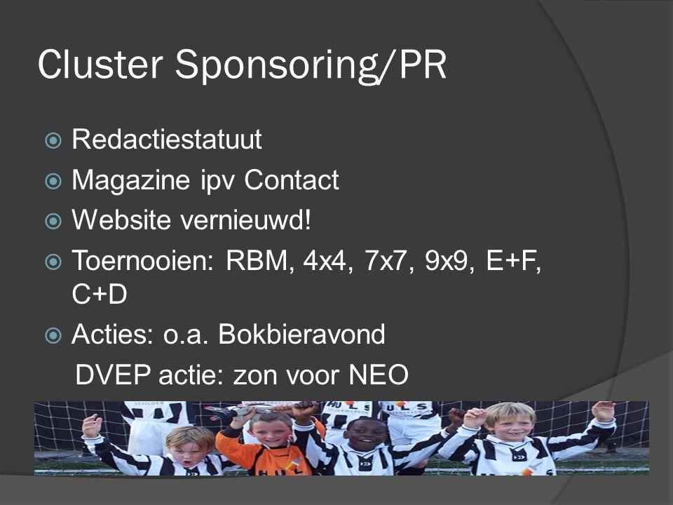 Cluster Sponsoring/PR  Redactiestatuut  Magazine ipv Contact  Website vernieuwd!  Toernooien: RBM, 4x4, 7x7, 9x9, E+F, C+D  Acties: o.a. Bokbiera