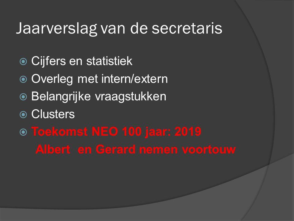 Jaarverslag van de secretaris  Cijfers en statistiek  Overleg met intern/extern  Belangrijke vraagstukken  Clusters  Toekomst NEO 100 jaar: 2019 Albert en Gerard nemen voortouw
