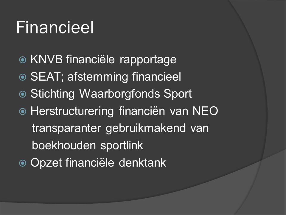 Financieel  KNVB financiële rapportage  SEAT; afstemming financieel  Stichting Waarborgfonds Sport  Herstructurering financiën van NEO transparanter gebruikmakend van boekhouden sportlink  Opzet financiële denktank