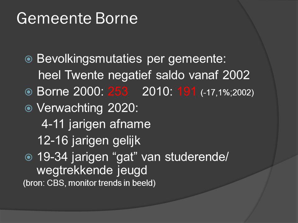 Gemeente Borne  Bevolkingsmutaties per gemeente: heel Twente negatief saldo vanaf 2002  Borne 2000: 253 2010: 191 (-17,1%;2002)  Verwachting 2020: 4-11 jarigen afname 12-16 jarigen gelijk  19-34 jarigen gat van studerende/ wegtrekkende jeugd (bron: CBS, monitor trends in beeld)