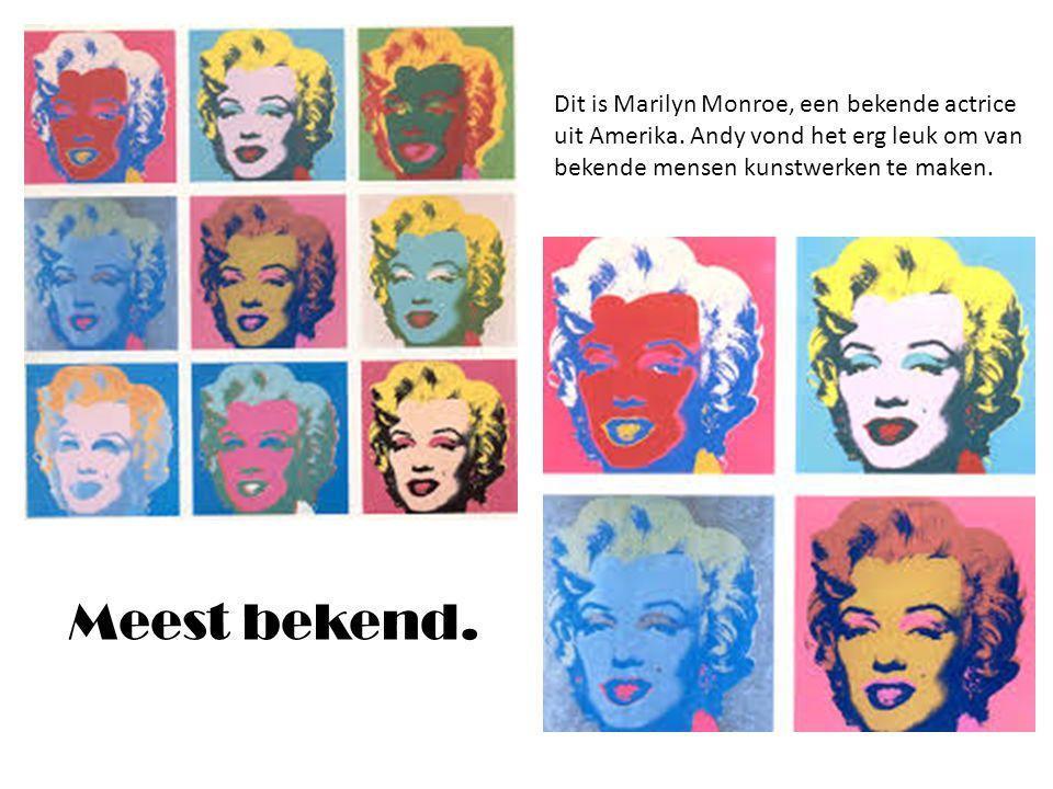 Dit is Marilyn Monroe, een bekende actrice uit Amerika. Andy vond het erg leuk om van bekende mensen kunstwerken te maken. Meest bekend.