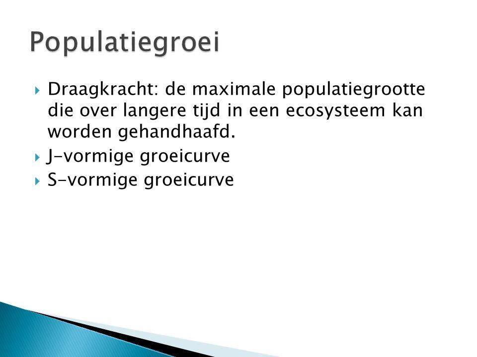  Draagkracht: de maximale populatiegrootte die over langere tijd in een ecosysteem kan worden gehandhaafd.  J-vormige groeicurve  S-vormige groeicu