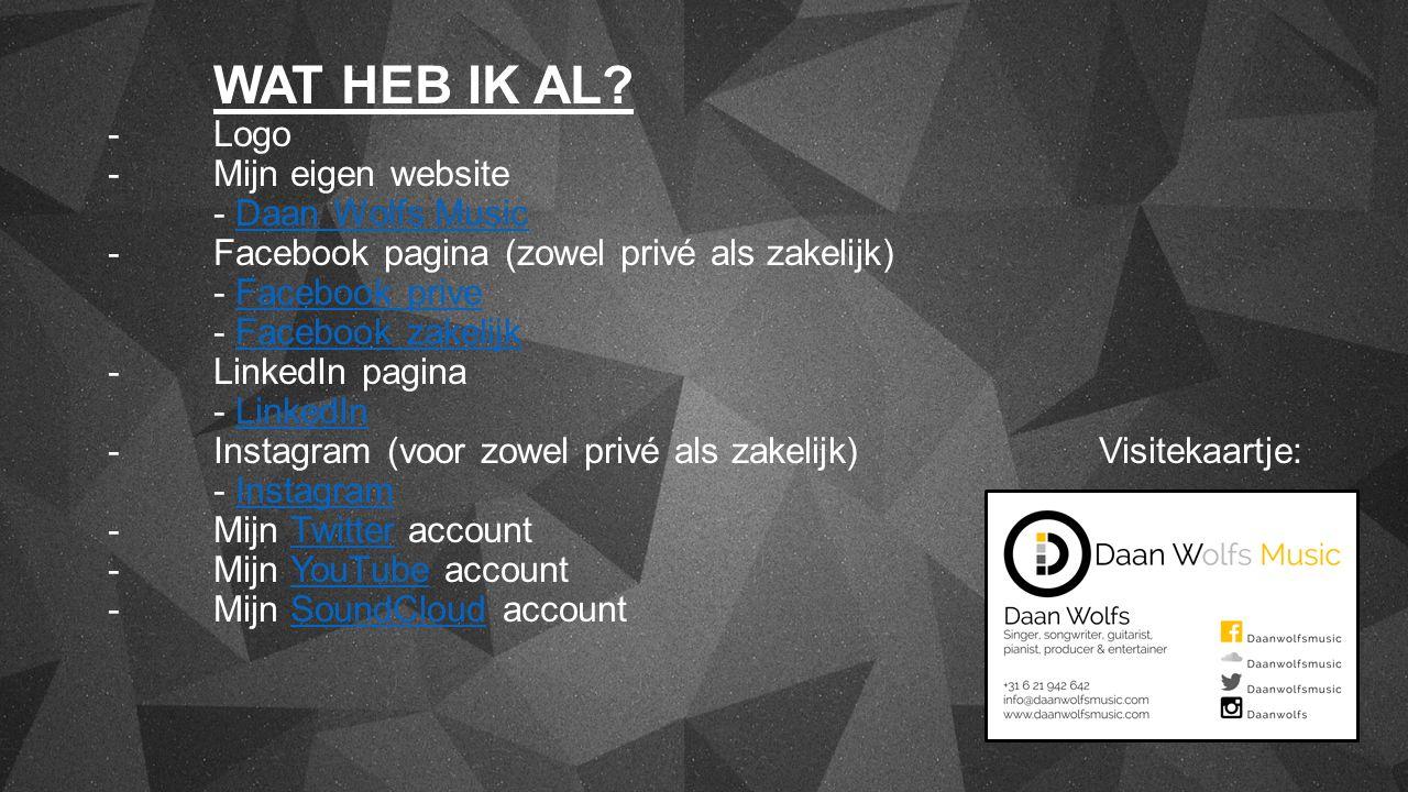 WAT HEB IK AL? -Logo -Mijn eigen website - Daan Wolfs Music - Facebook pagina (zowel privé als zakelijk) - Facebook prive - Facebook zakelijk -LinkedI