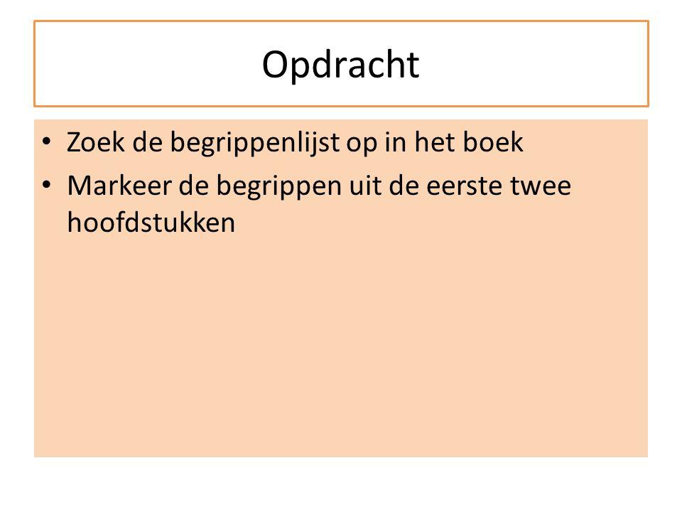 Opdracht Zoek de begrippenlijst op in het boek Markeer de begrippen uit de eerste twee hoofdstukken