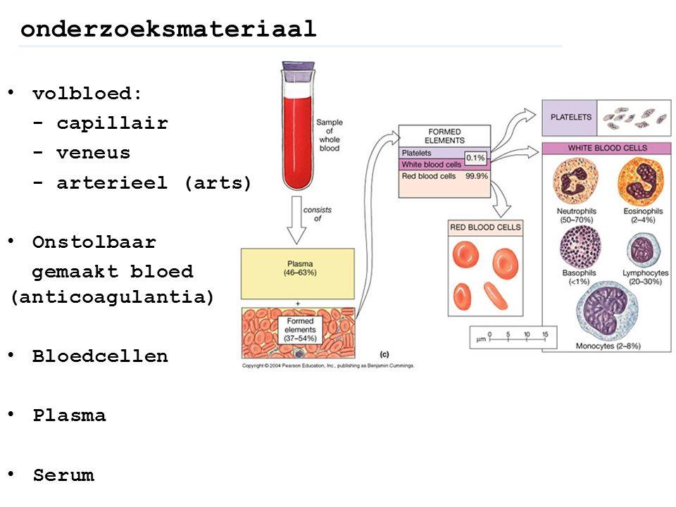 onderzoeksmateriaal volbloed: - capillair - veneus - arterieel (arts) Onstolbaar gemaakt bloed (anticoagulantia) Bloedcellen Plasma Serum