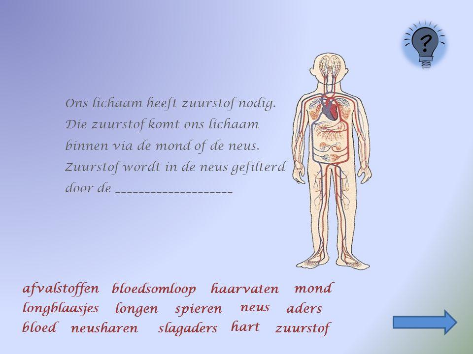 Ons lichaam heeft zuurstof nodig.