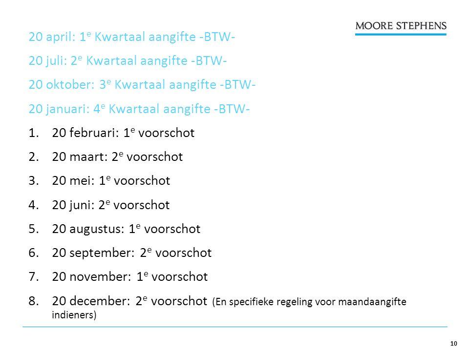 10 20 april: 1 e Kwartaal aangifte -BTW- 20 juli: 2 e Kwartaal aangifte -BTW- 20 oktober: 3 e Kwartaal aangifte -BTW- 20 januari: 4 e Kwartaal aangifte -BTW- 1.20 februari: 1 e voorschot 2.20 maart: 2 e voorschot 3.20 mei: 1 e voorschot 4.20 juni: 2 e voorschot 5.20 augustus: 1 e voorschot 6.20 september: 2 e voorschot 7.20 november: 1 e voorschot 8.20 december: 2 e voorschot (En specifieke regeling voor maandaangifte indieners)