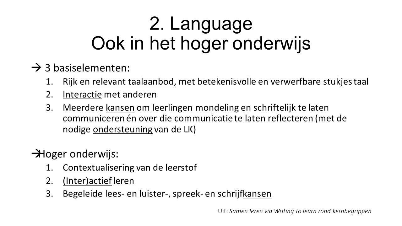 2. Language Ook in het hoger onderwijs  3 basiselementen: 1.Rijk en relevant taalaanbod, met betekenisvolle en verwerfbare stukjes taal 2.Interactie