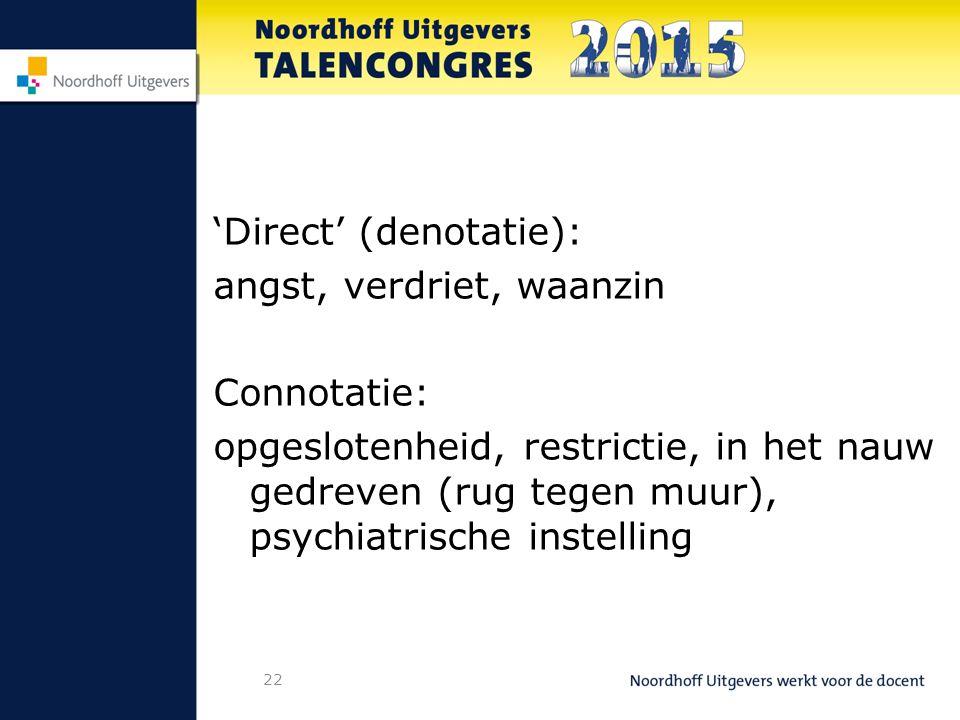 22 'Direct' (denotatie): angst, verdriet, waanzin Connotatie: opgeslotenheid, restrictie, in het nauw gedreven (rug tegen muur), psychiatrische instelling