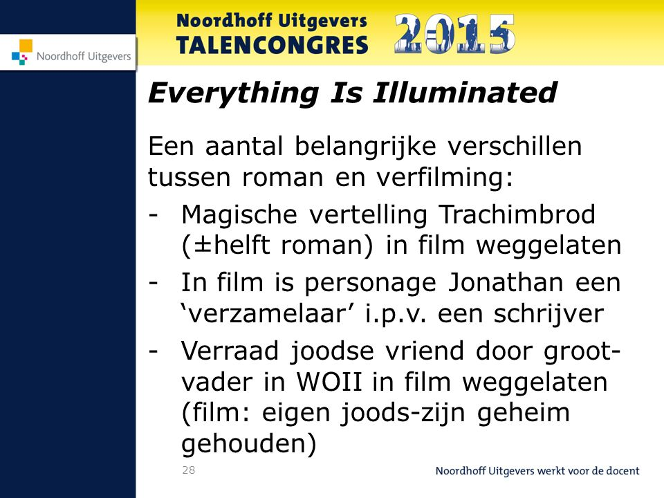 28 Everything Is Illuminated Een aantal belangrijke verschillen tussen roman en verfilming: -Magische vertelling Trachimbrod (±helft roman) in film weggelaten -In film is personage Jonathan een 'verzamelaar' i.p.v.