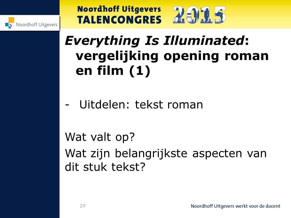 29 Everything Is Illuminated: vergelijking opening roman en film (1) -Uitdelen: tekst roman Wat valt op.