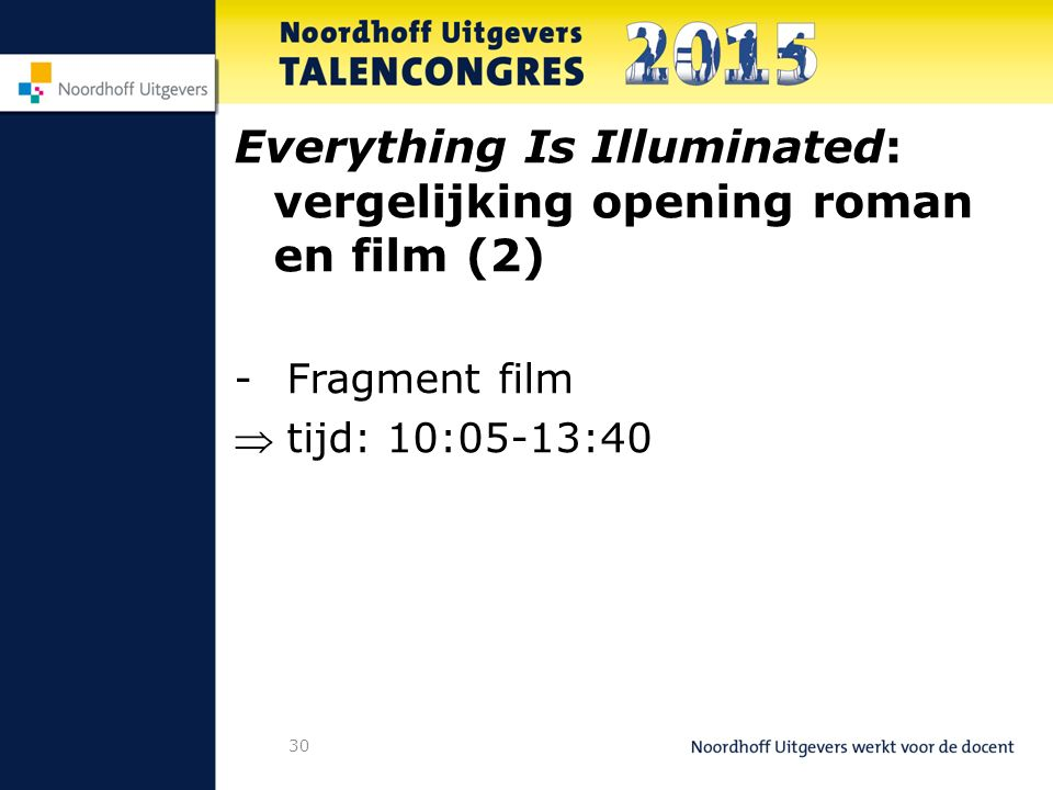 30 Everything Is Illuminated: vergelijking opening roman en film (2) -Fragment film tijd: 10:05-13:40