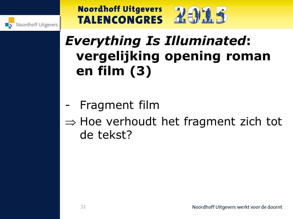 31 Everything Is Illuminated: vergelijking opening roman en film (3) -Fragment film Hoe verhoudt het fragment zich tot de tekst?